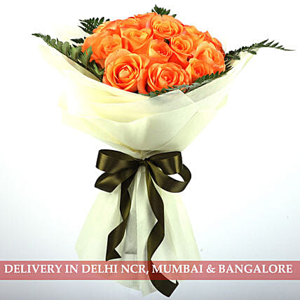 Symphony Of Orange Roses: Premium Flowers
