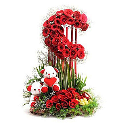 Red Roses Moon Arrangement: Roses And Teddies