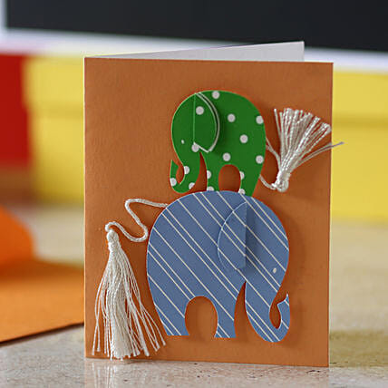 Tassel Tail Elephant Greeting Card: Buy Greeting Cards