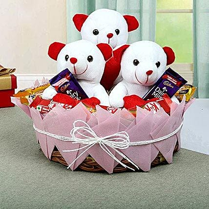 Teddy and Chocolate Basket: Chocolate Bouquet