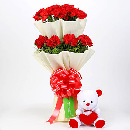 Teddy Bear & Two Layer Red Carnations Bouquet: Flowers & Teddy Bears