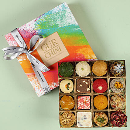 Tempting Exotic Mithai In Multicolored Box- 16 Pcs: Sweets Delivery