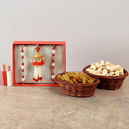 Three Designer Rakhis & Dry Fruits Combo: Send Set of 3 Rakhi