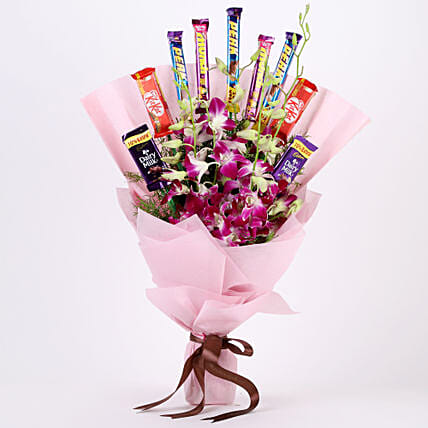 True Feelings- Purple Orchids & Chocolate Bouquet: Send Flowers and Chocolates