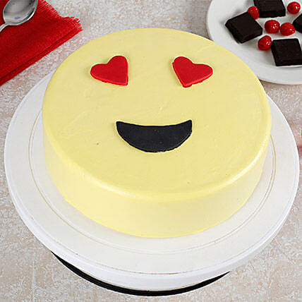 True Love Emoji Cream Cake: Hug Day Gifts