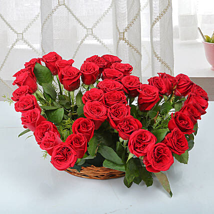 Two Red Hearts As One Basket Arrangement: Exotic Rose Arrangements