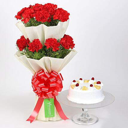 Two Layer Carnations Bouquet With Pineapple Cake: Cakes Combo