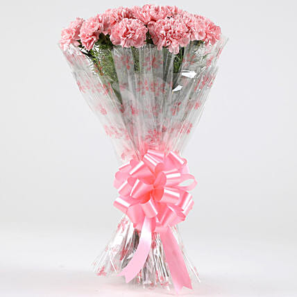 Unending Love-18 Light Pink Carnations Bouquet: Carnations