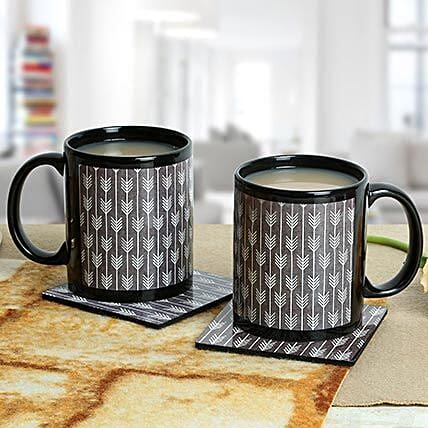 Black Duo Mugs With Coasters: Daughters Day Mugs