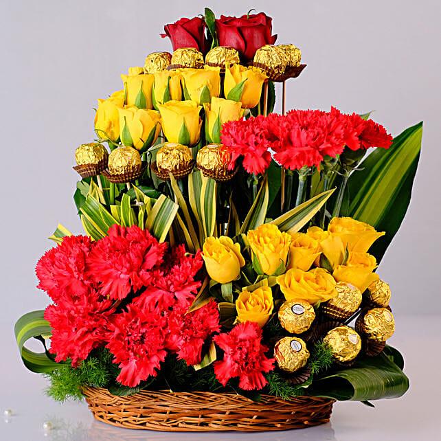 Mixed Flowers & Ferrero Rocher Arrangement: Pohela Boishakh Flowers
