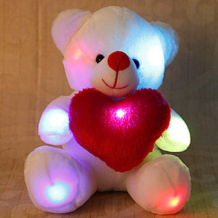 Cuddly White Teddy Bear: Valentines Day Soft toys