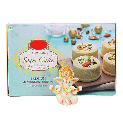 Ganesha Idol With Soan Cake: Handicrafts for Her