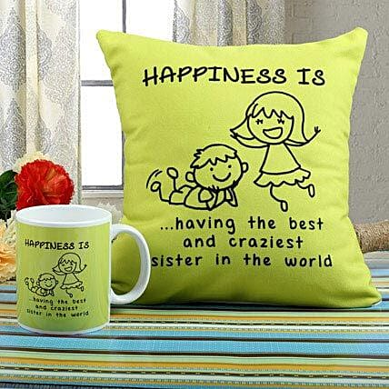 Happiness Mug N Cushion Combo: Send Rakhi to Noida