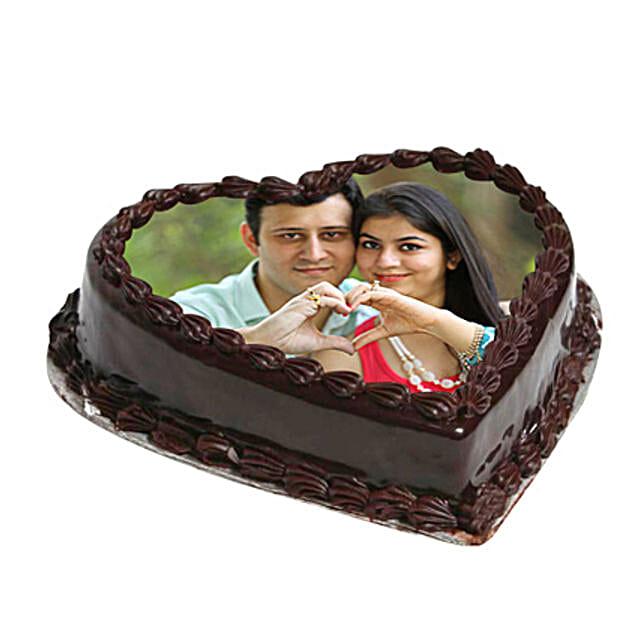 Heart Shape Photo Chocolate Cake: Send Chocolate Cakes