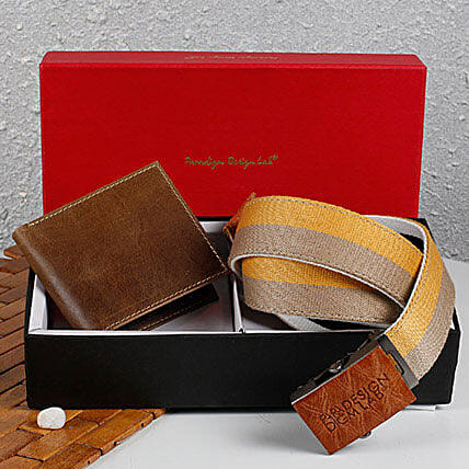 Paradigm Brown Wallet N Belt Combo: Belts for Him
