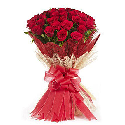 Passionate Love- 50 Velvety Red Roses Bunch: Thank You Gifts