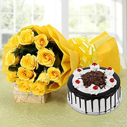 Yellow Roses Bouquet & Black Forest Cake: Gifts Delivery In Karol Bagh
