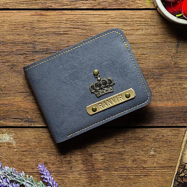 Personalised Grey Mens Wallet: