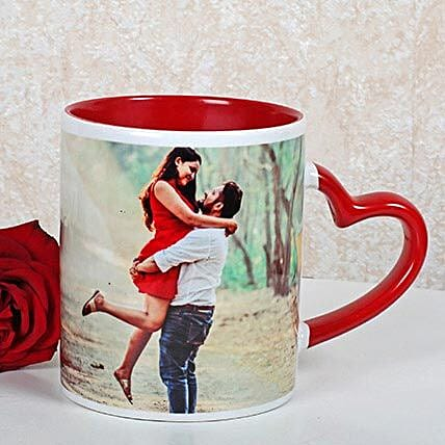 Personalized Red Ceramic Mug: Custom Photo Coffee Mugs