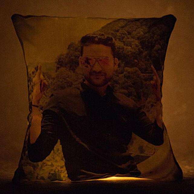 Personalized Yellow LED Light Cushion: Personalised Cushions for Bhai Dooj