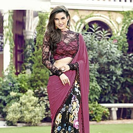 Pink and Black Festive Printed Saree: Apparel Gifts