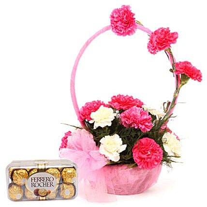 Pink N White Basket Of Flavours: Flowers & Chocolates for Anniversary