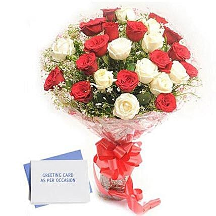 Red N White Roses: Send Flowers & Cards for Birthday