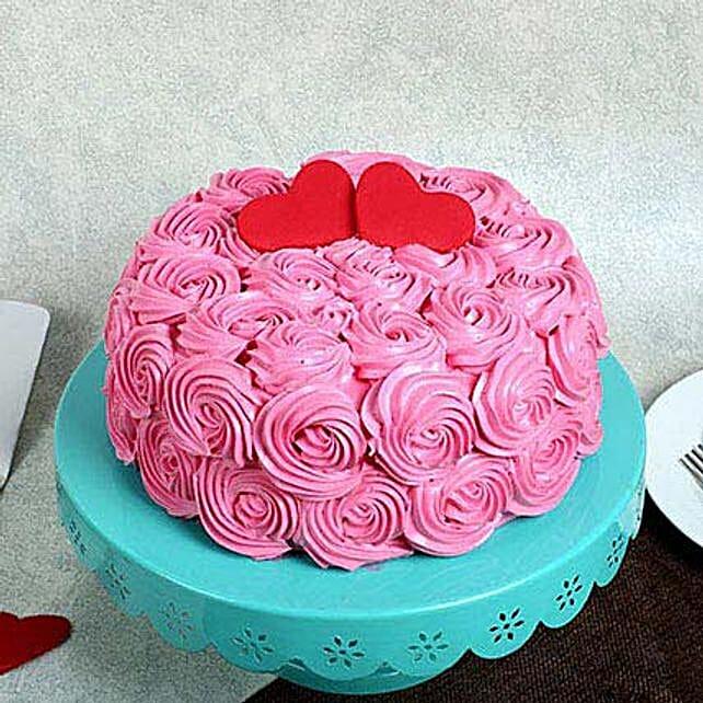 Rose Cream Valentine Cake: Designer Cakes