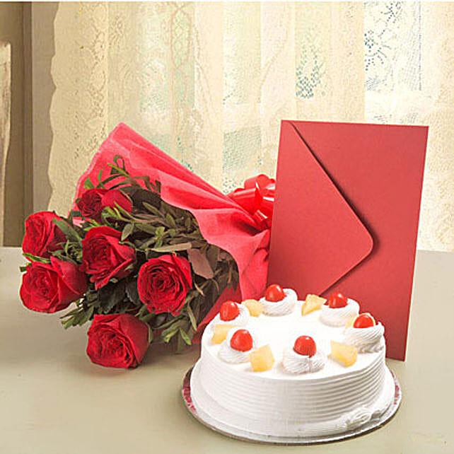 Roses N Cake Hamper: Flowers & Cards - Birthday