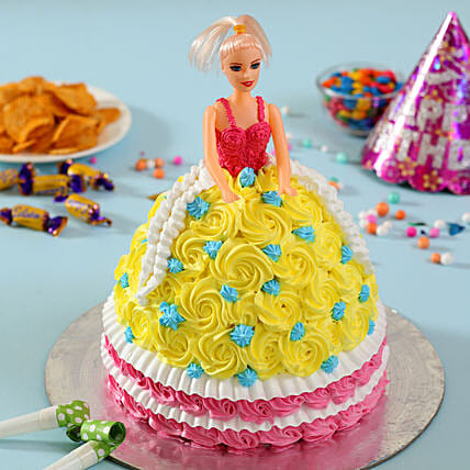Rosy Barbie Cake: Pineapple Cakes Delhi