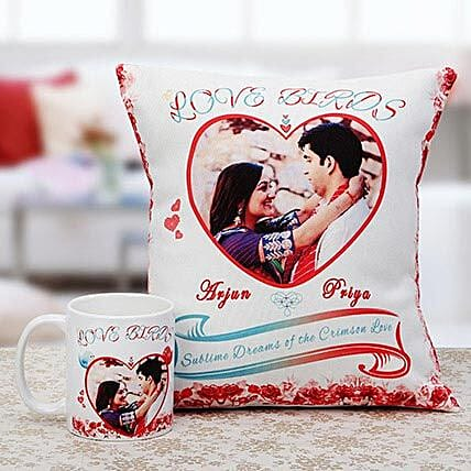 Love Birds Personalised Cuhsion & Mug Combo: Custom Photo Coffee Mugs