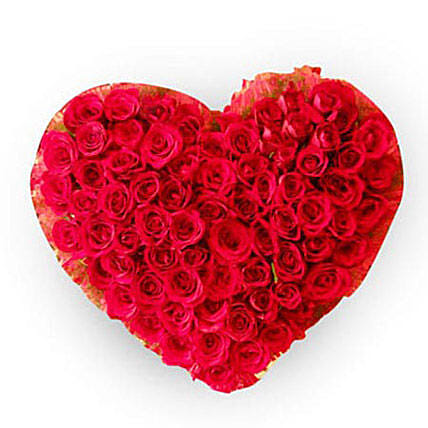 Precious 100 Red Roses Heart: Heart Shaped Flowers Arrangement For Valentine's Day