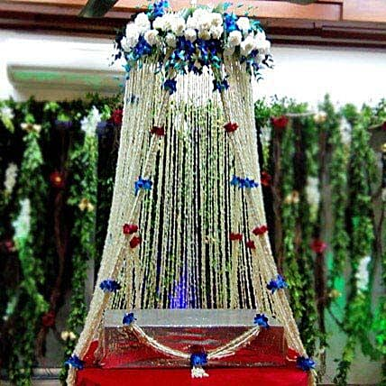 White Sparkling Flower Tower Decoration: Temple Flower Decorations