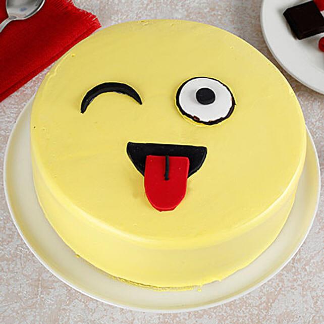Wink Emoji Semi Fondant Cake: Butter Scotch Cakes