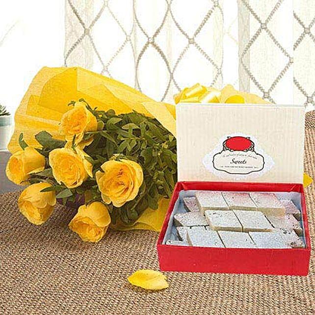 Yellow Roses N Kaju Katli: Gifts for Basant Panchami