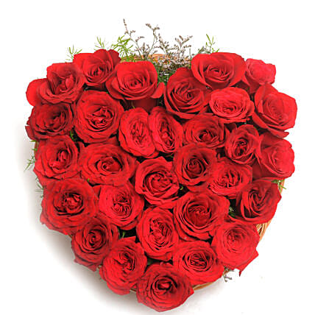 Heart Shaped Red Rose Arrangement: Basket Arrangements