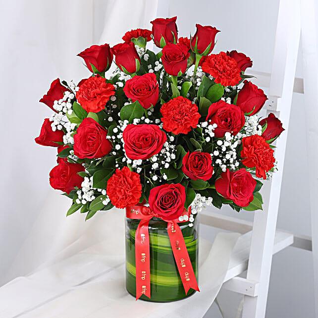 Roses N Carnations Arrangement: