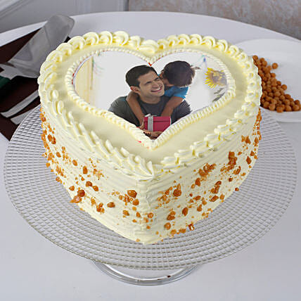 Fathers Day Butterscotch Heart Shaped Cake: Photo Cakes