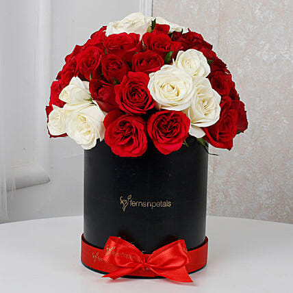 White & Red Roses Box Arrangement: Roses for birthday