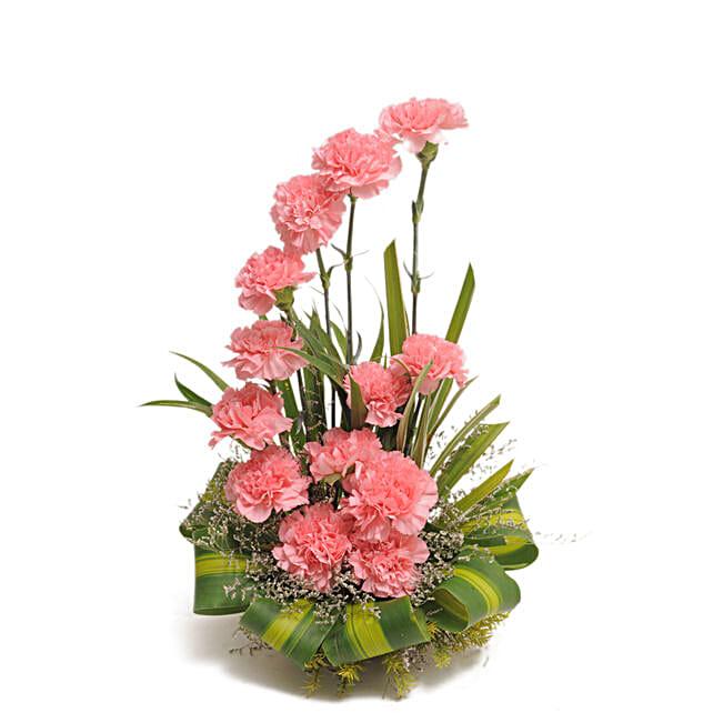 Pink Carnations Basket Arrangement:
