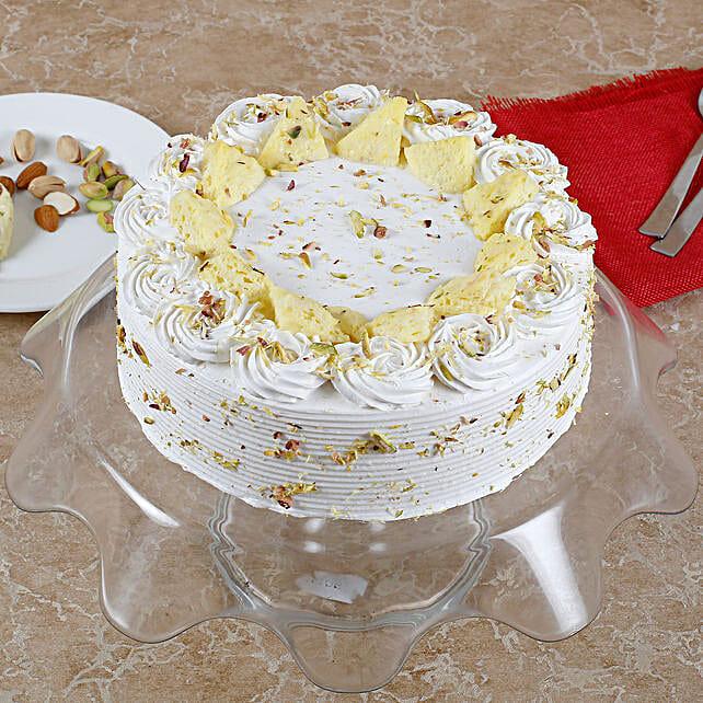Vanilla Flavored Pista Rasmalai Cake: Diwali Sweets Jalandhar
