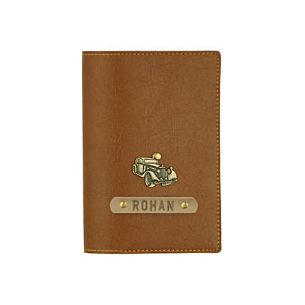 Leather Finish Passport Cover Tan: Customized Gifts for Her