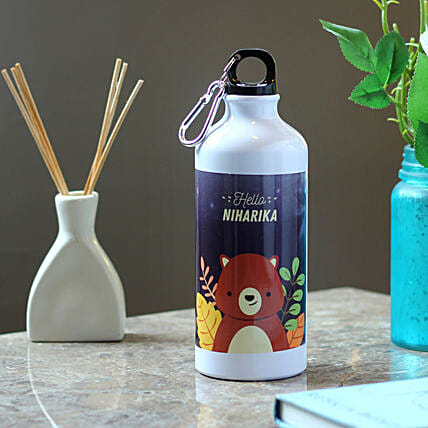 Personalised Cute Bear Steel Bottle: Send Personalised Message Bottles