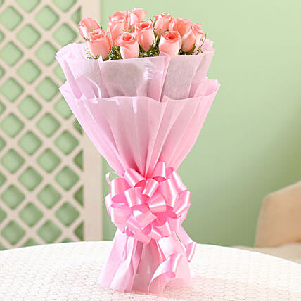 Elegance - Pink Roses Bouquet: Birthday Gifts for Her