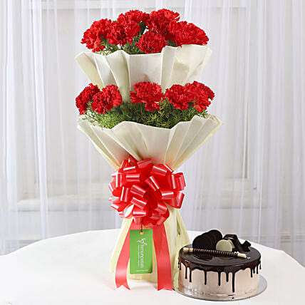 Two Layer Red Carnations Bouquet & Chocolate Cake Combo: