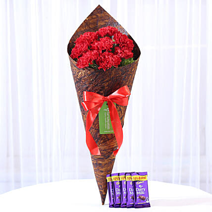 8 Vibrant Red Carnations & Dairy Milk Combo: Gift Combos