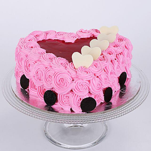 Pink Floral Heart Cake: Send Designer Cakes