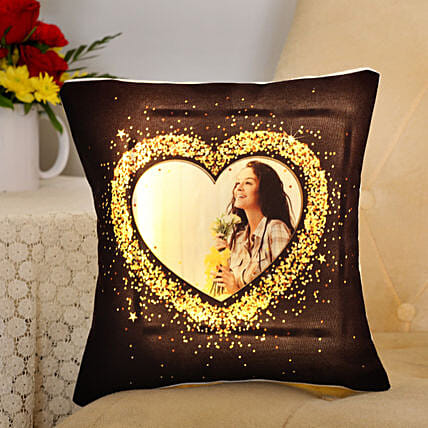 Blingy Heart Personalised LED Cushion: Send Valentine Personalised Gifts