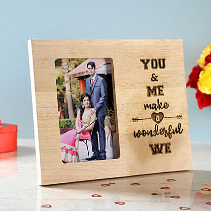 You & Me Engraved Wooden Photo Frame: Anniversary Photo Frames