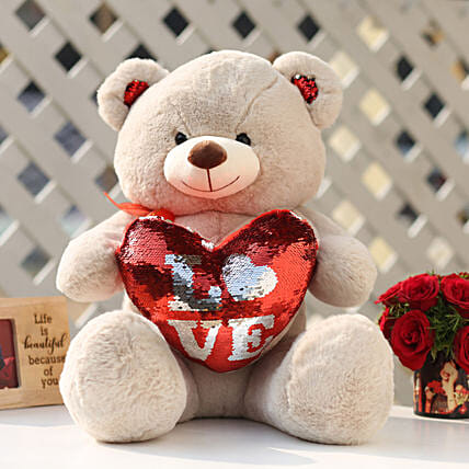 Camel Color Sequin Love Teddy Bear: Valentines Day Soft toys